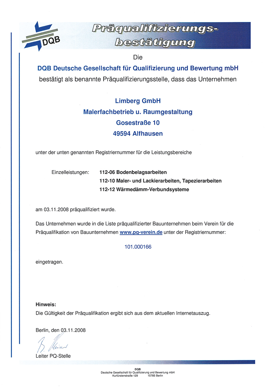 Präqualifizierungsbestätigung für das Unternehmen Limberg Malerfachbetrieb und Raumgestaltung GmbH