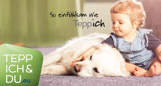 Ein kleiner Junge liegt mit einem Hund auf einem Teppich - daneben das Logo der Aktion Teppich & Du